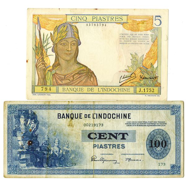 Banque de L'Indo-Chine, Pair of Issued Banknotes, 1945-1946