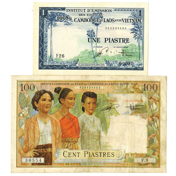 French Indo-China, Viet Nam Issue, Pair of Banknotes, 1953-154