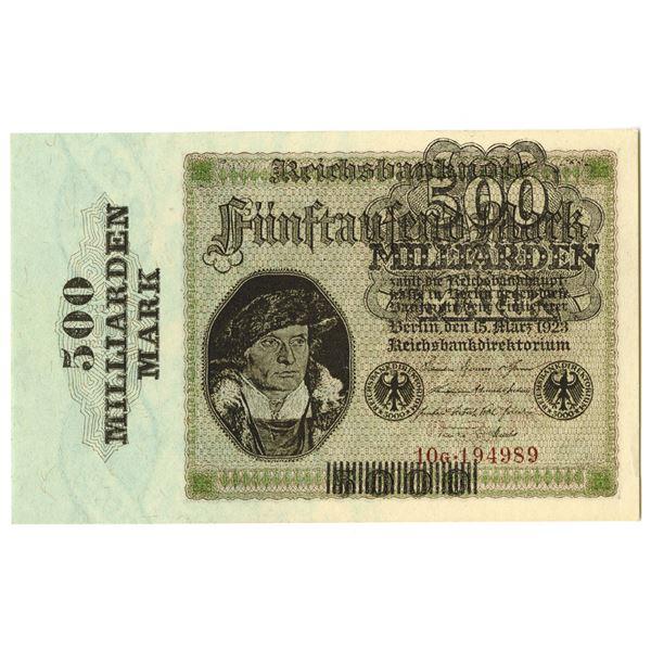 Reichsbanknote, 8th Issue, 1923 500 Milliarden Mark on 5000 Mark.