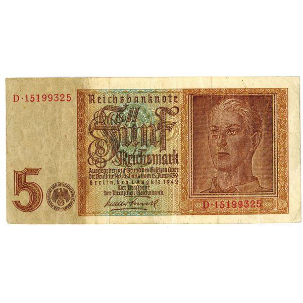 Reichsbanknote, German Error Banknote, 1942 With Upside Down Watermark.