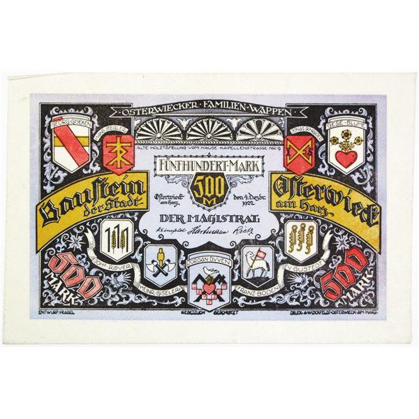 Baustein der Stadt Osterwieck am Harz. 1922. Issued Leather Note.