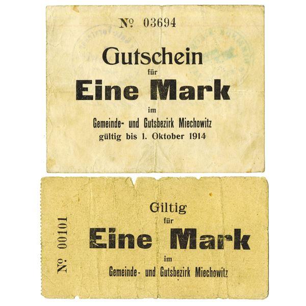 Gemeinde und Gutsbezirk Miechowitz. 1914. Lot of 2 Issued Emergency Notgeld Notes.
