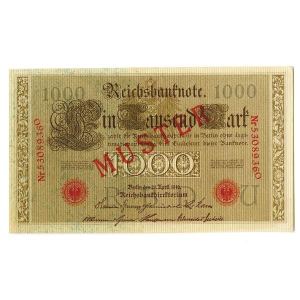 Reichsbankdirektorium. 1910. Specimen Note.