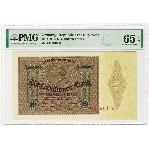 Republic Treasury Note, 1923, Issued Banknote.