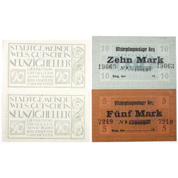 Officer POW Camp in Burg & Town of Wels (Austria). ca. 1918-1921. Lot of 4 Issued Notes.