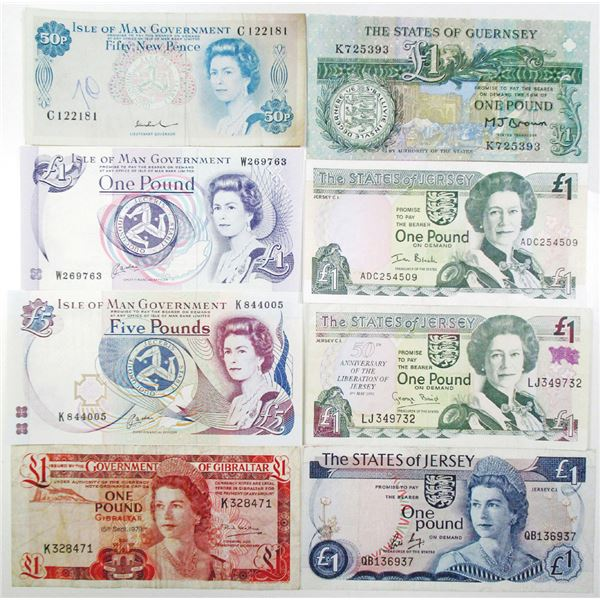 Gibraltar, Guernsey, Isle of Man, and Jersey Assortment. 1976-2000. Lot of 8 Issued Notes.