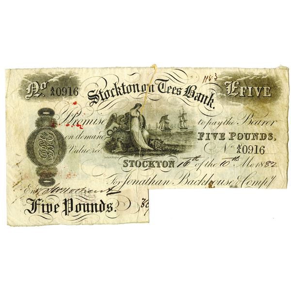 Stockton Tees Bank, 1882, I/C Provincial Note that is Repaired