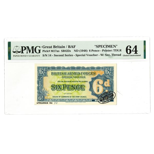 British Armed Forces Special Voucher, 2nd Series. ND (1948). Specimen Banknote.