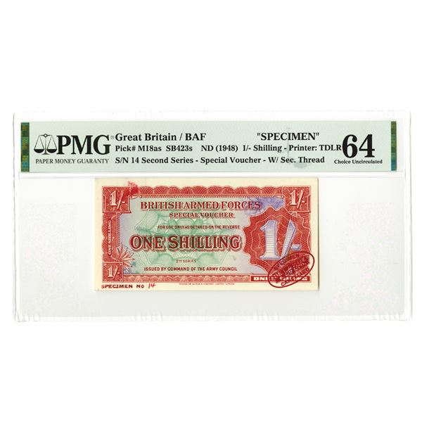 British Armed Forces Special Voucher. 2nd Series, ND (1948). Specimen Banknote.