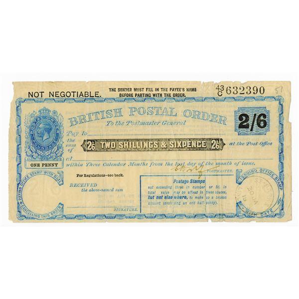 British Postal Order of WWI, 1918 Uncancelled Postal Order.