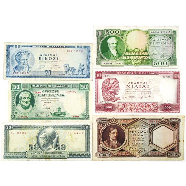 Bank of Greece. 1939-1956. Lot of 6 Issued Notes.