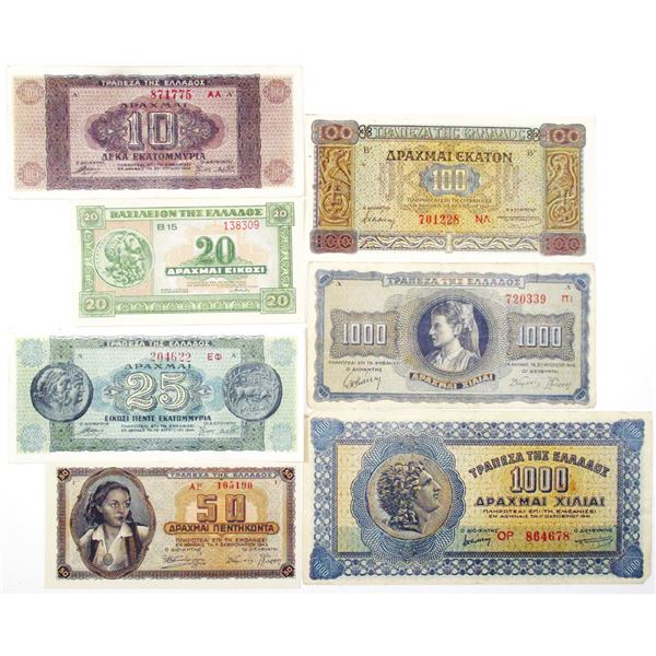 Bank of Greece & Ministry of Finance. 1940-1950. Lot of 21 Issued Notes.