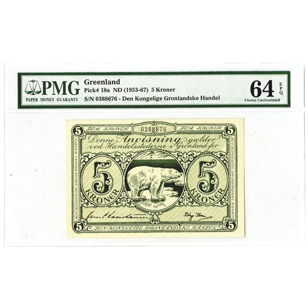 Greenland, ND (1953-67) Polar Bear Issued Banknote