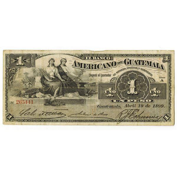 Banco Americano de Guatemala. 1899. Issued Banknote.
