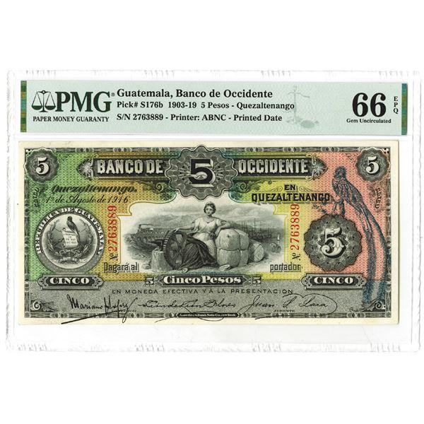 Banco de Occidente. 1916. Issued Note.