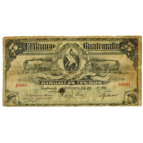 El Banco de Guatemala, 1900 Issued Banknote