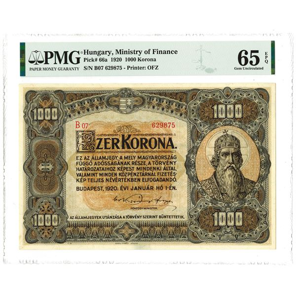 Ministry of Finance, 1920 High Grade Issued Banknote.
