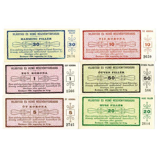 VilàgÕtàsi _s VÕzm_ R_szv_nytràsasàg (Light & Water Utilities Inc.). 1920. Lot of 6 Issued Notes.
