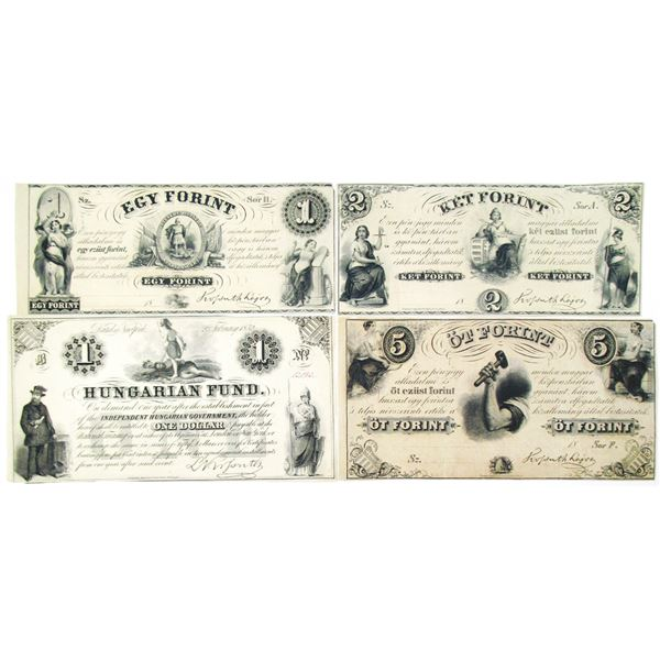 Finance Ministry (Philadelphia) & Hungarian Fund (New York). ND (1852). Lot of 4 Issued Notes.