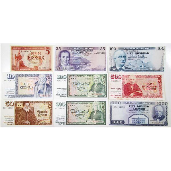 Sedlandsbanki slands. ca. 1957-1994. Lot of 9 Issued Notes.