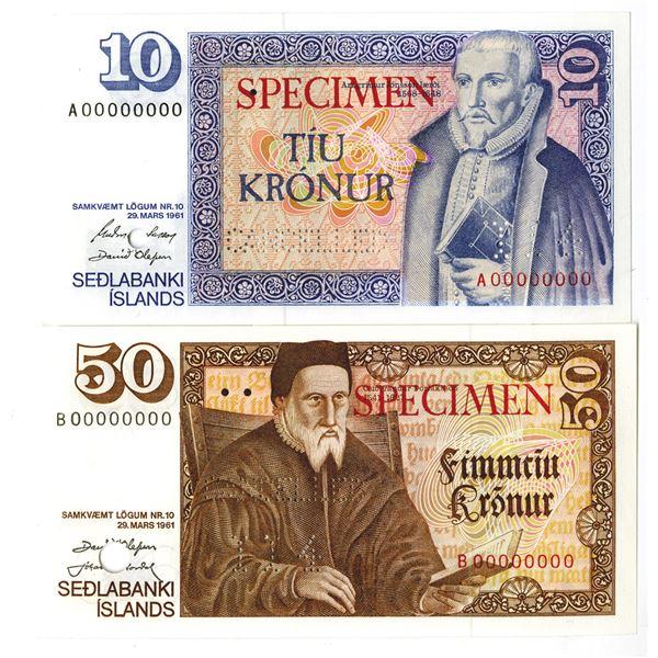 Landsbanki slands. L.1961 (1981). Lot of 2 Specimen Notes.