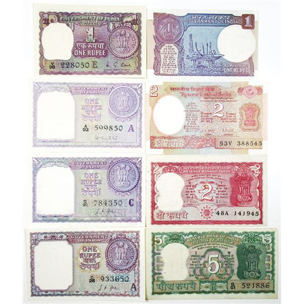 Reserve Bank of India and Government of India. 1957-1996. Lot of 14 Issued Notes.