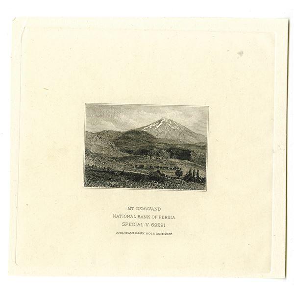 "National Bank of Persia, ND (ca.1932) Proof Vignette of ""Mt. Demavand""."