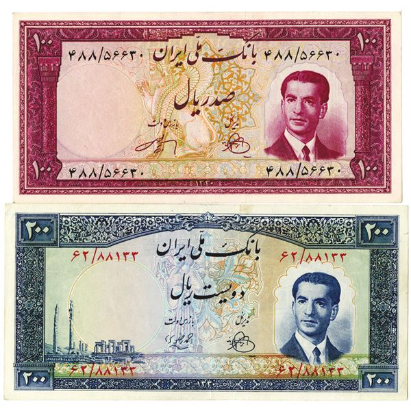 Bank Melli Iran. SH1330 (1951). Lot of 2 Issued Notes.