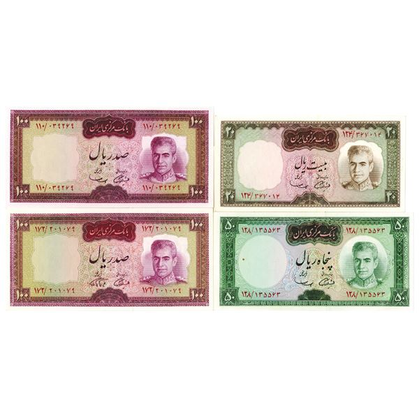 Bank Markazi Iran, Central Bank of Iran. ND (1969-1973). Lot of 4 Issued Notes.