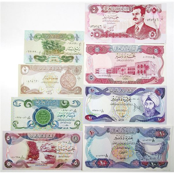 Central Bank of Iraq. 1973-2003. Lot of 16 Issued Notes.