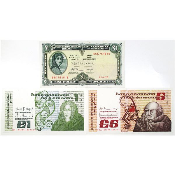 Central Bank of Ireland. 1975-1984. Lot of 3 Issued Notes.