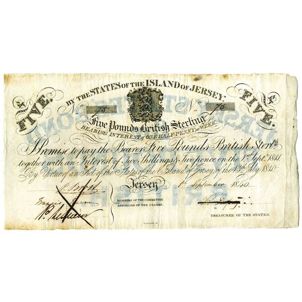 British Jersey Bank, 1840 Issued Banknote