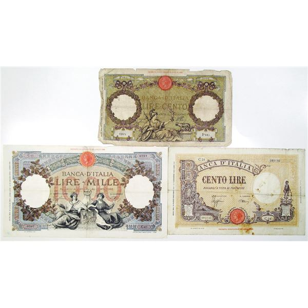 Banca d'Italia. 1939-1942. Lot of 3 Issued Notes.