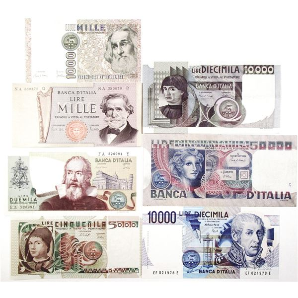 Banca d'Italia. 1969-1984. Lot of 7 Issued Notes.