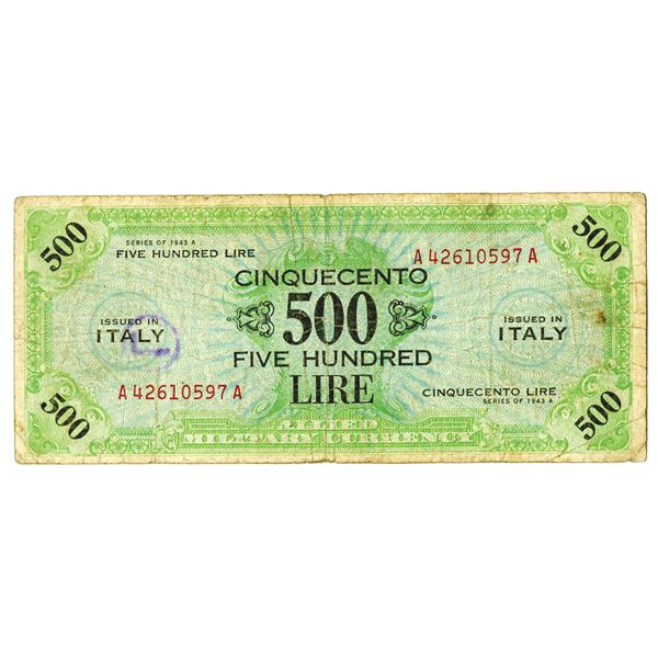 Italy Allied Military Currency, 1943 Issued Banknote with Vertical Watermark.