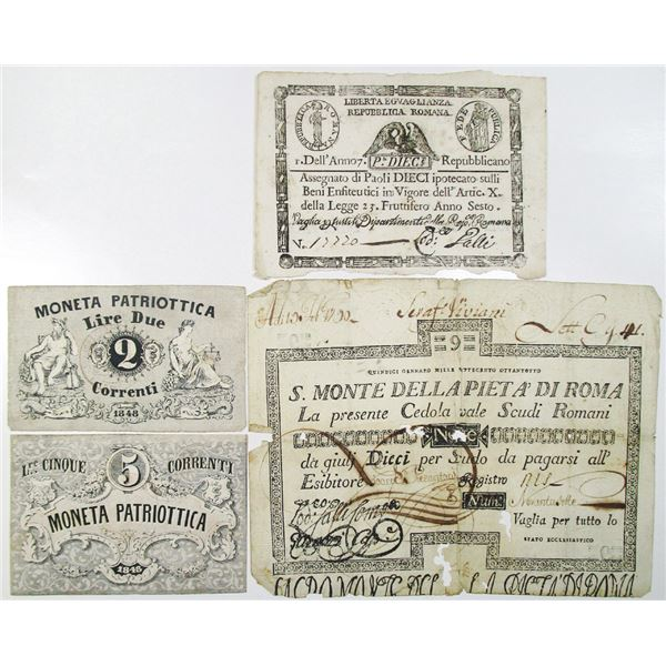 Various Issuers. 1790-1848. Lot of 4 Issued Notes.