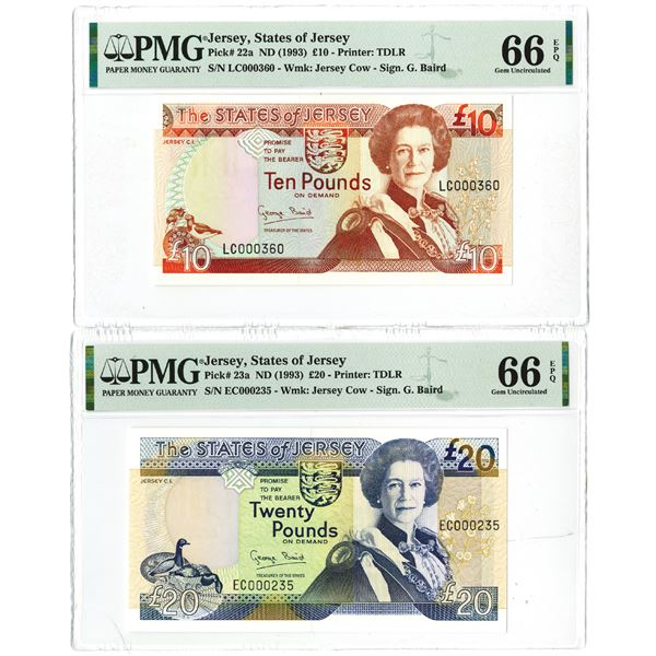States of Jersey. ND (1993). Lot of 2 Issued High Grade and Low Serial Number Banknote Pair.