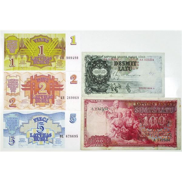Latvian Banknotes, 1939-1992, Group of Issued Notes