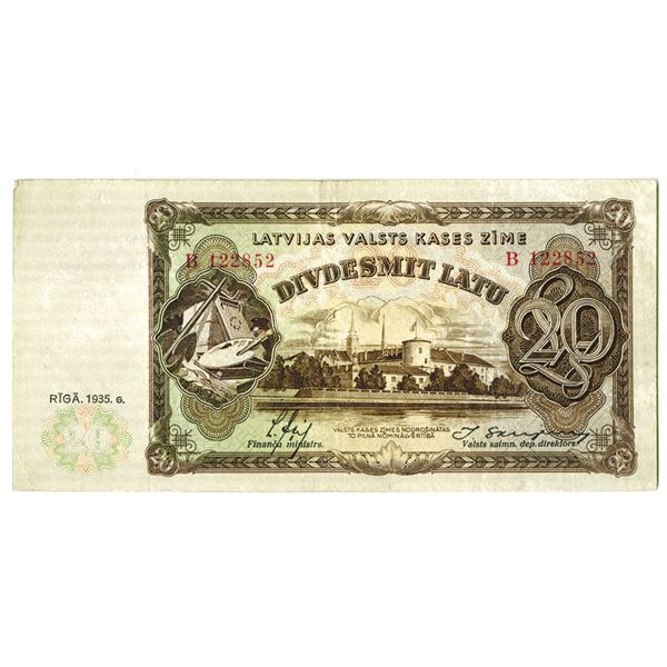 Latvian Government State Treasury Issued Banknote, 1935