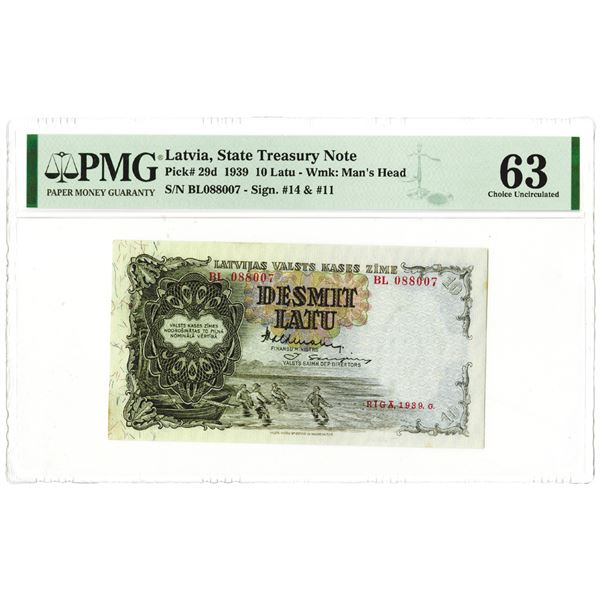 Latvian Government State Treasury Note, 1939, Issue Banknote.