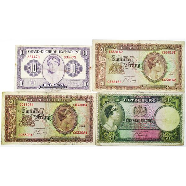 Letzeburg & Grand-Duch_ de Luxembourg. 1943-1944. Lot of 4 Issued Notes.