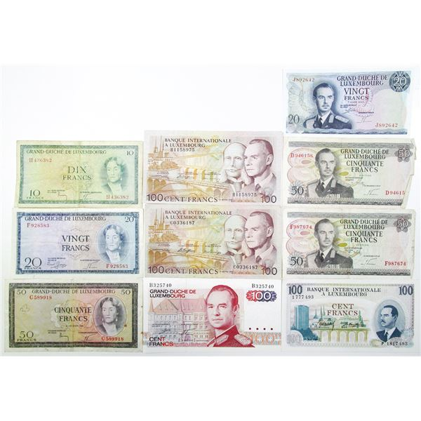 Grand-Duch_ de Luxembourg and Banque Internationale a Luxembourg. 1955-1981. Lot of 10 Issued Notes.