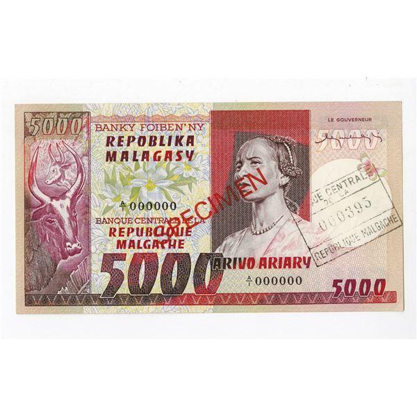 Banque Centrale de la Republique Malagache. ND (1974-1975). Specimen Note.