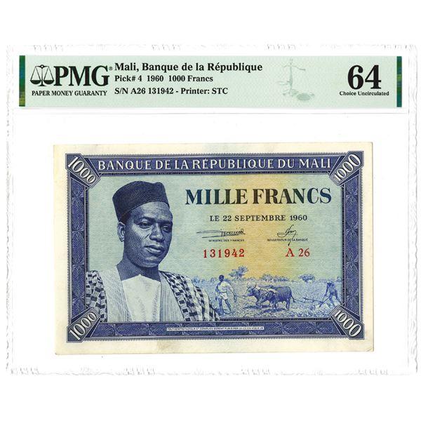 Banque de la Republique du Mali. 1960. Issued Note.