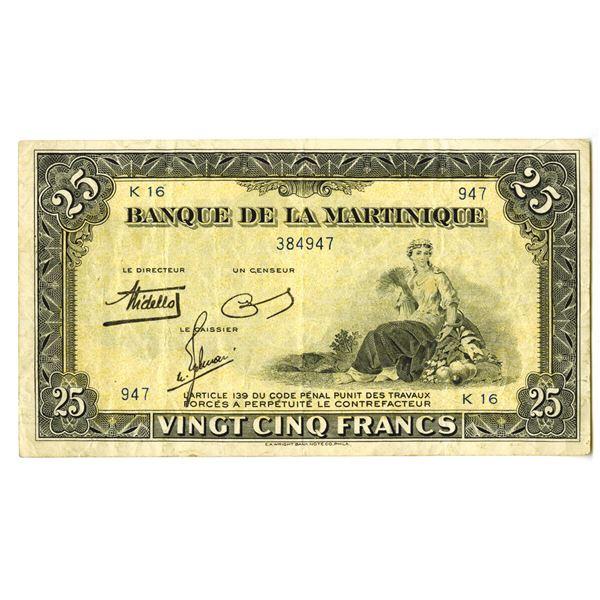 Banque de la Martinique. ND (1943-1945) Issue Banknote.