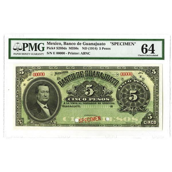 Banco de Guanajuato. ND (1914). Specimen Note.