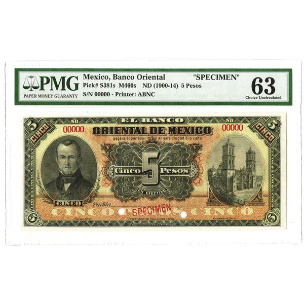 Banco Oriental. ND (1900-1914). Specimen Note.
