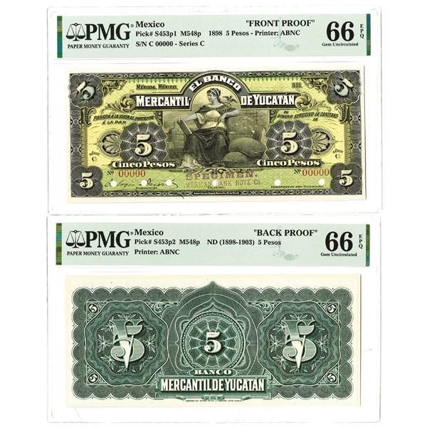 Banco Mercanti de Yucatan. 1898. Lot of 2 Front & Back Proof Notes.