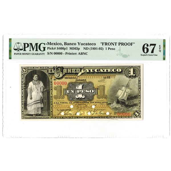 Banco Yucateco. 1891. Front Proof Note Rarity.