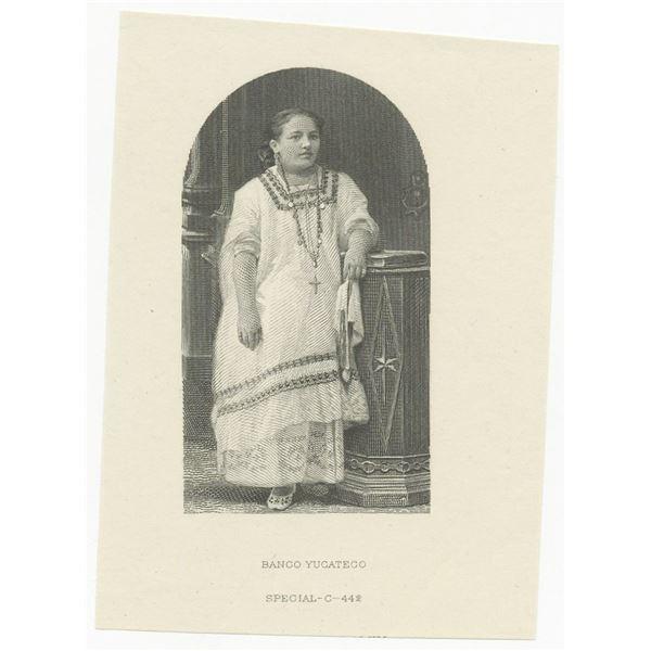 Banco Yucateco, 1891; 1892. Proof Vignette of Portrait of Indian Woman.